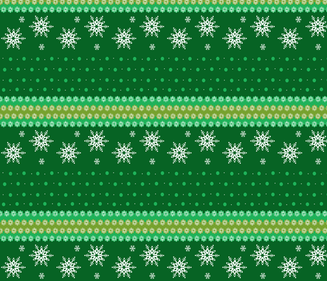 snowflakes_on_green_horizontal fabric by elizabethjones on Spoonflower - custom fabric