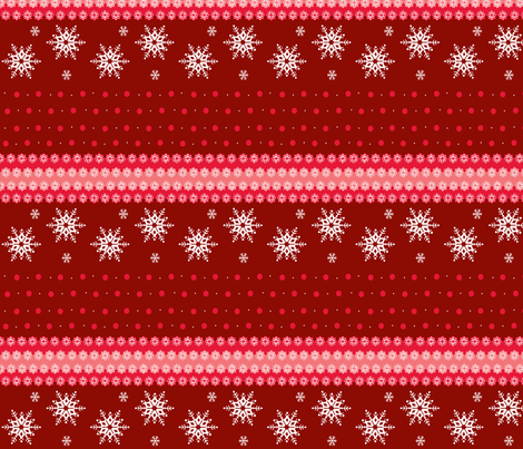 snowflakes_on_red_horizontal fabric by elizabethjones on Spoonflower - custom fabric
