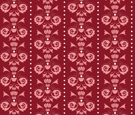 Damask Dot - Red/Pink