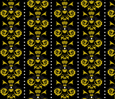 Damask Dot - Black/Gold fabric by owlandchickadee on Spoonflower - custom fabric
