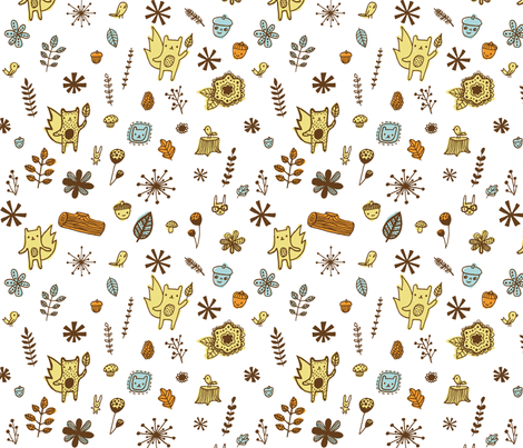 woodsy friends fabric by liz-adams on Spoonflower - custom fabric