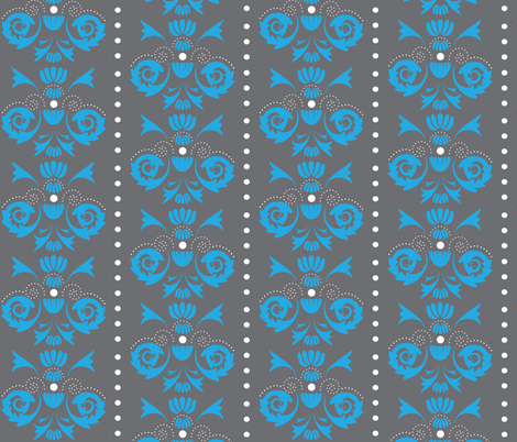 Damask Dot - Blue/Dk.Grey fabric by owlandchickadee on Spoonflower - custom fabric