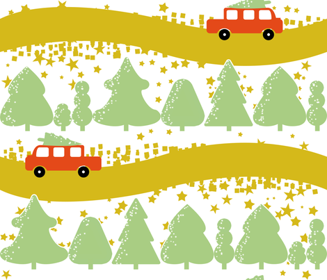 Bringing Home the Tree fabric by yourfriendamy on Spoonflower - custom fabric