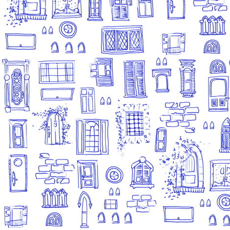 Windows and Doors Doodle fabric by jadegordon on Spoonflower - custom fabric
