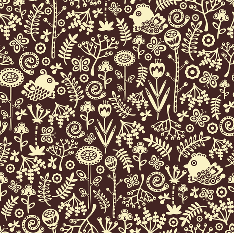 Birds on brown. fabric by panova on Spoonflower - custom fabric