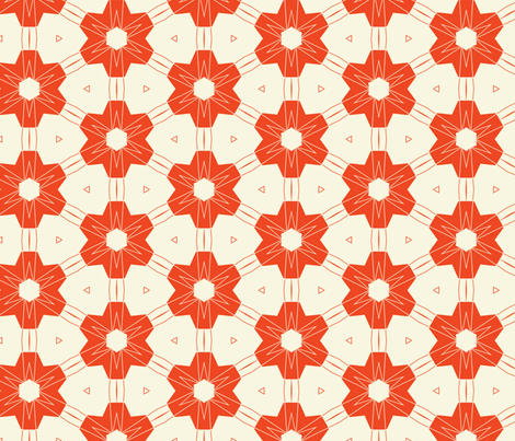 Large Retro Red Flowers fabric by stoflab on Spoonflower - custom fabric