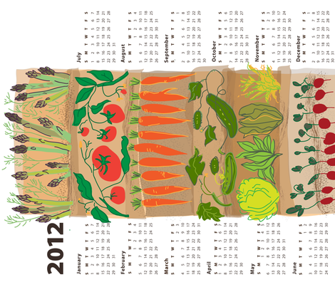 2012 Market Fresh Calendar fabric by snuss on Spoonflower - custom fabric