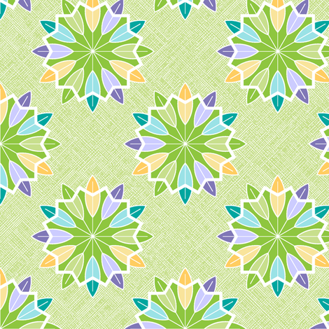 Feather Rosette - Lime fabric by inscribed_here on Spoonflower - custom fabric