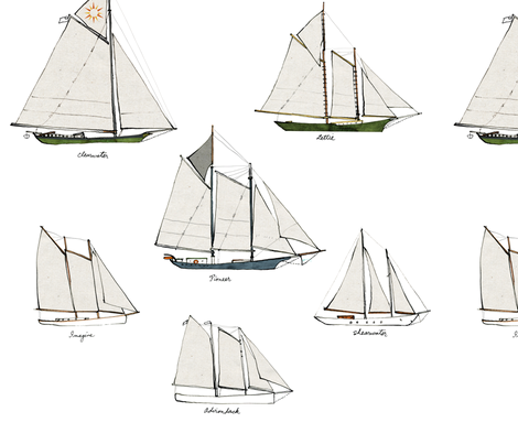 schooners dolls fabric by bowsprite on Spoonflower - custom fabric