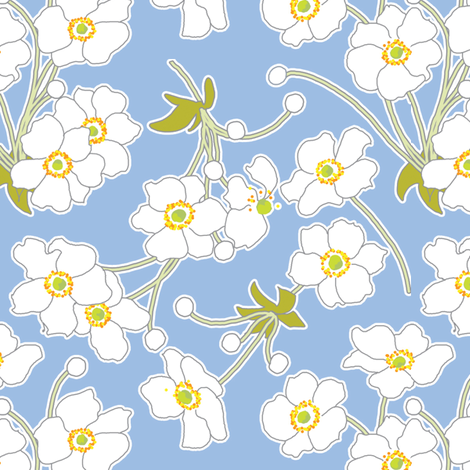 Japanese Anenomes in Blue fabric by anntuck on Spoonflower - custom fabric