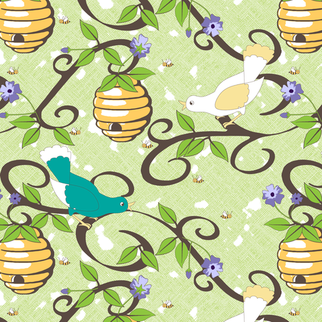 All About the Birds and the Bees - Lime fabric by inscribed_here on Spoonflower - custom fabric