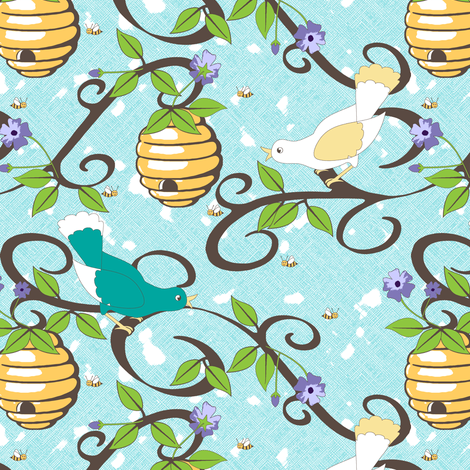 All About the Birds and the Bees - Aqua fabric by inscribed_here on Spoonflower - custom fabric