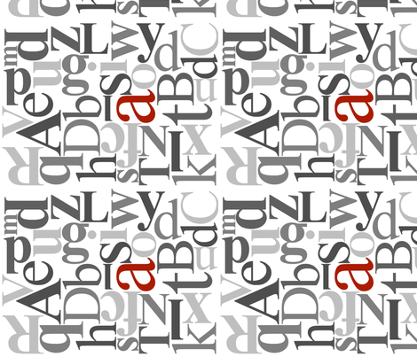 Alphabet_RedA fabric by taraspurcell on Spoonflower - custom fabric