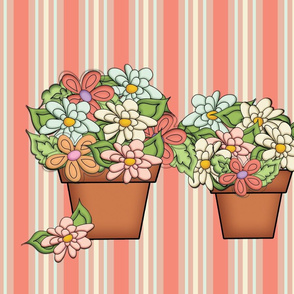 Terra Cotta Flower Pots - (Striped Floral)