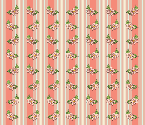 Terra Cotta Floral Stripes fabric by cherie on Spoonflower - custom fabric