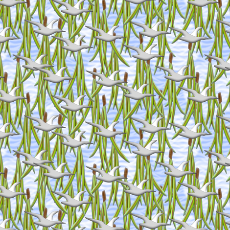 The Pine Needles fall and the Snow Goose Flies fabric by glimmericks on Spoonflower - custom fabric