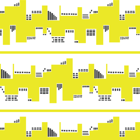 Up Town vs. Down Town in Yellow and Grey fabric by bluenini on Spoonflower - custom fabric