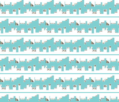 Up Town vs. Down Town in Aqua and Grey, Charlotte Version fabric by bluenini on Spoonflower - custom fabric