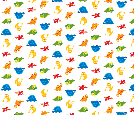DinoWhite fabric by ghennah on Spoonflower - custom fabric