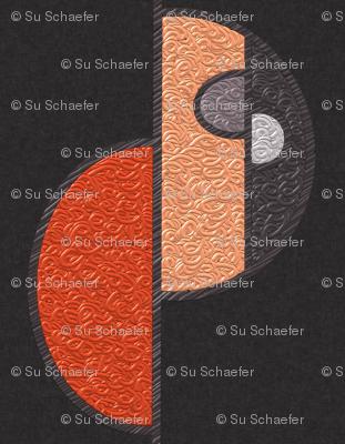 Half circles orange on brown LARGE