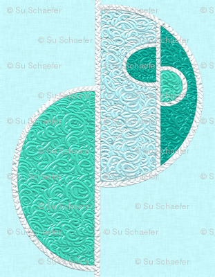 Half circles turquoise on pale blue