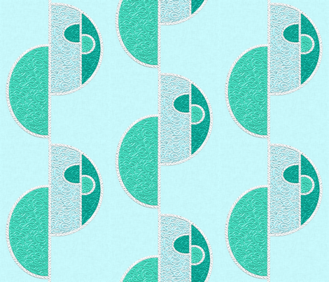 Half circles turquoise on pale blue fabric by su_g on Spoonflower - custom fabric