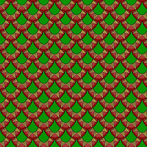 Dragon Scales in red and gold on green