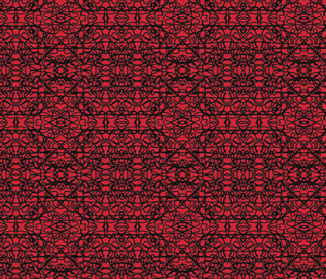 Random rope black on red fabric by su_g on Spoonflower - custom fabric