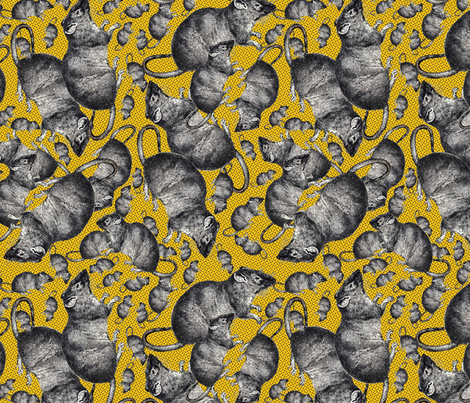 Rats on yellow background fabric by susiprint on Spoonflower - custom fabric