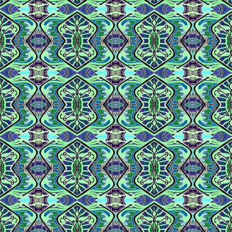 Teal and Mint Nouveau Wafting fabric by edsel2084 on Spoonflower - custom fabric