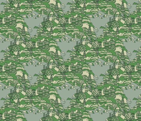 Illustrated Evergreens fabric by teja_jamilla on Spoonflower - custom fabric