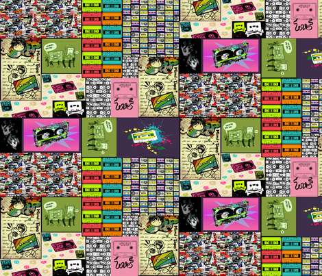 for_the_love_of_the_mix_tape fabric by geekinspirations on Spoonflower - custom fabric