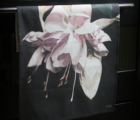 Fuchsia tea towel - summer