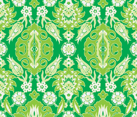 Tulip-Pomegranate Green-Green fabric by miss_blümchen on Spoonflower - custom fabric