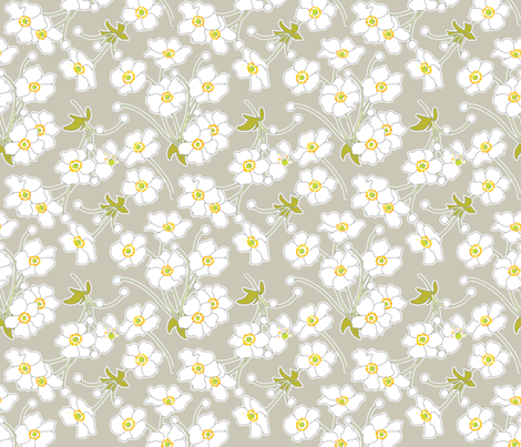 Japanese Anenomes in Linen Gray fabric by anntuck on Spoonflower - custom fabric
