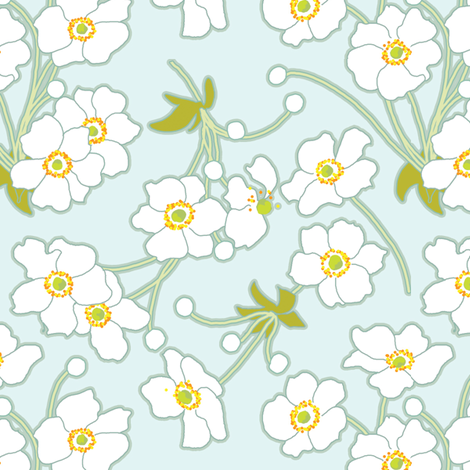 Japanese Anenomes for Nasturtium Collection fabric by anntuck on Spoonflower - custom fabric