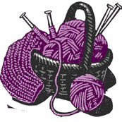 pink knitting in the basket