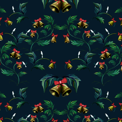 bells__leaves_and_birds fabric by the_collectionist on Spoonflower - custom fabric