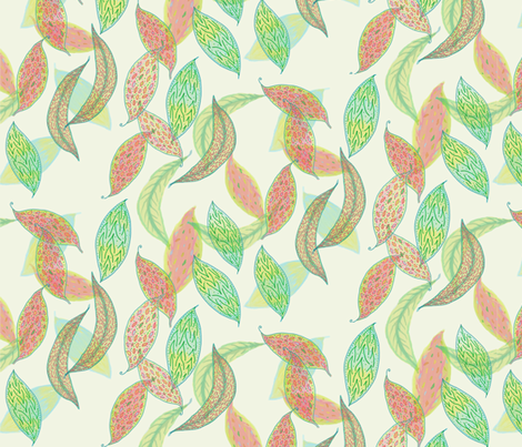 Watercolor leaves on cream fabric by su_g on Spoonflower - custom fabric