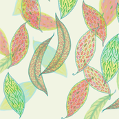 Watercolor leaves on cream