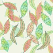 Watercolor leaves on cream by Su_G