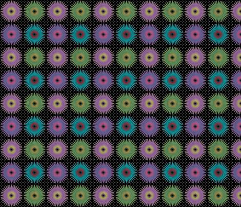 Spiroflower on black small fabric by glanoramay on Spoonflower - custom fabric