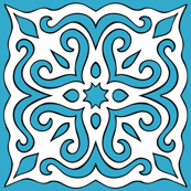 Barock style Cut Art to blue pattern.