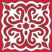 Barock style Cut Art to red pattern.