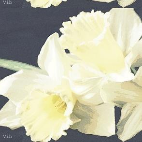 White narcissus tea towel - winter