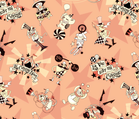 Cirque Noir - Vintage Pink fabric by urban_threads on Spoonflower - custom fabric