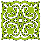 Barock style Cut Art to green pattern.