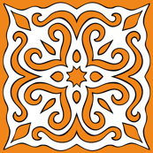Barock style Cut Art to orange pattern.