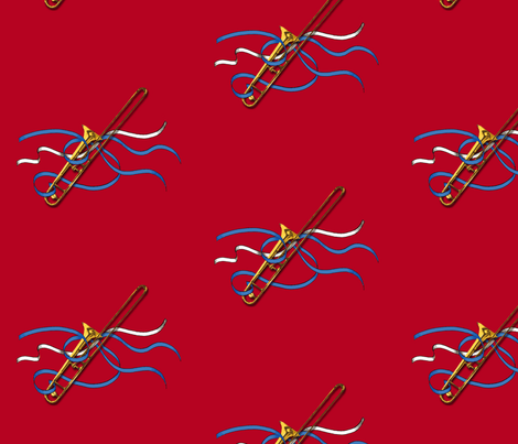 Trombone & Ribbons 8x8  fabric by engravogirl on Spoonflower - custom fabric