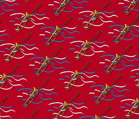 Trombones & Ribbons 1 yd fabric by engravogirl on Spoonflower - custom fabric